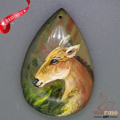 Art Deco Hand Painted Made Necklace roe Natural Gemstone pendant ZL806231 #ZL #Pendant