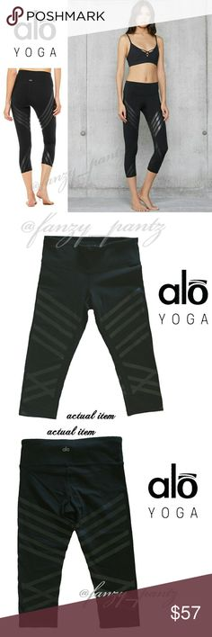 Alo Yoga High Waist Airbrush Capri leggings small Like new ~ Alo Yoga ~ Airbrushed Capri workout pants ~ Engineered Print ~ High-waist ~ size small ~ black with black geometric stripes  ~ athletic tights ~ true to sizs ABSOLUTELY NO TRADES PLEASE! REASONABLE OFFERS WELCOME THROUGH OFFER FEATURE ONLY PLEASE ALO Yoga Pants Leggings