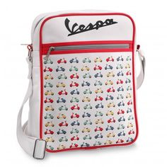 Eco-leather shoulder bag with different designs inspired to the Vespa tradition. Inner zippered pockets; top closure by zipper. Size cm 26x33x9.