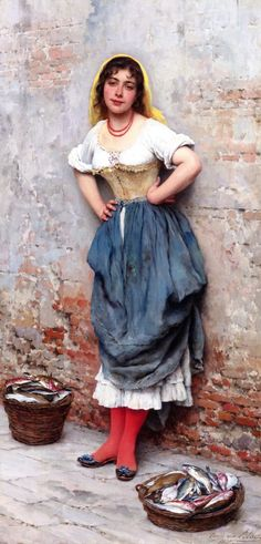 The Athenaeum -A Young Fishwife Eugene de Blaas - 1895 Private collection Painting - oil on panel Height: 85.1 cm (33.5 in.), Width: 45.1 cm (17.76 in.)