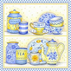 Artwork Blue & Yellow Teacups