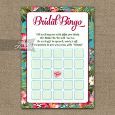 Bridal Shower Bingo Game  Tropical Bridal by NiftyPrintables