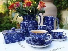 Burleigh Calico Blue Tea Set ~ I absolutely love this pattern of dish wear.  Wish I had bought it years ago.