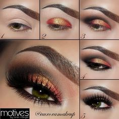 A gorgeous smokey eye with orange undertones, this look goes well with virtually every skin tone and hair color.