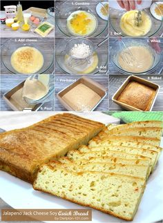 A low carb quick bread made with soy protein powder and flavored with spicy Jack cheese. Soy Flour Recipes, No Carb Recipes, Atkins Recipes, Diet Recipes, Healthy Recipes, Quick Bread, How To Make Bread, Celebrity Diets, Baking Flour