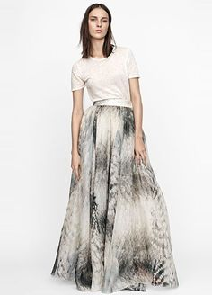 Proof That Sustainable Fashion Found At The Mall Can Be Beautiful #refinery29  http://www.refinery29.com/2015/03/83915/hm-conscious-collection-olivia-wilde#slide-9  Because this hand-painted skirt shines on its own, it works beautifully with just a simple tee.