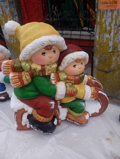 Children Sledding Figurine Christmas And New Year, Christmas Crafts, Christmas Ornaments, Vintage Winter, Vintage Christmas, Christmas Tablescapes, Christmas Decorations, Winter Illustration, Ceramic Bisque