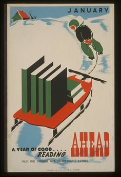 Vintage WPA poster, January a year of good reading ahead
