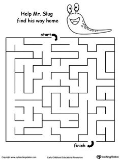 Slug Maze: Help your child boost their fine motor skills and develop their concept of direction with this printable maze worksheet.