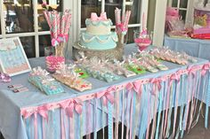 Fun princess party: Love how they used ribbons to decorate the front of the table!