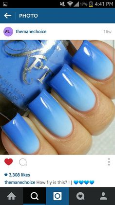 Perfect and short blue ombre nails