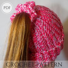 Crochet pattern for hats - Ponytail Hat pattern - messy bun beanie pattern - crochet hat pattern - m Crochet Gifts, Free Crochet, Hat Crochet, Crocheted Hats, Crochet Things, Crochet Carpet, Crochet Hair, Silly Hats, Crazy Hats