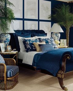Navy Blue Bedroom with a Coastal Flair