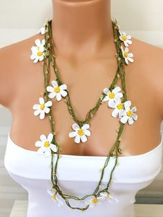 Camomile Crochet Beaded Work Strand NecklaceBeaded by NinnisGift, $21.00