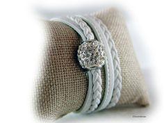 Damen Lederarmband Nappa weiss silber Gltzer von elfenstuebchen