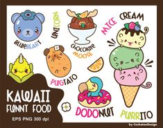 50% OFF SALE, Kawaii animals clipart, kawaii food clipart, funny clipart, cute animals clipart, ice cream clipart, pug, dodo, Commercial use