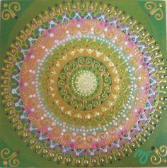 zöld-rózsaszín-arany Napspirál mandala / green-pink-gold Sunspiral mandala