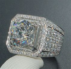Fashion Women Men 925 Silver White Topaz Wedding Engagement Ring Size 6-10