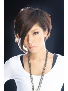 short hair long bang. when I cut all my hair off in the relatively near future to let it grow back healthy, I'm doing something like this. leaving the bangs I have and prolly a little on the side, and making it short and feathery in back?