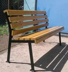vidaXL Iron Frame Garden Bench with Wood - Salvabrani - Salvabrani Metal Garden Furniture, Backyard Furniture, Iron Furniture, Steel Furniture, Garden Seating, Garden Chairs, Metal And Wood Bench, Wood Slats, School Wall Decoration