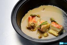 "Sheldon Simeon's King Crab, Dungeness Crab ""Miso,"" Pine-Smoked Asparagus & Charred Corn"