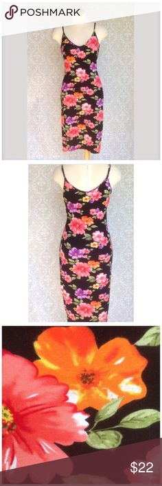 """SUMMER DRESS Pretty rayon /spandex knit dress.  A little lower neckline in back. Very clingy and very stretchy. 32"""" long from arm pit.  Like new one clothing Dresses"""