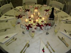Simple but elegant place settings for a buffet style wedding reception. Complete with chilled champagne on each table.