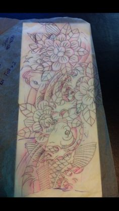 3/4 sleeve two coy fish design.