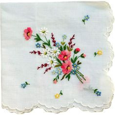 Vintage Embroidered Cotton Hankie Spring Flowers Neiman Marcus Mint from toinetterl on Ruby Lane