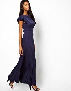 Agrandir ASOS - Maxi robe à dos ouvert et manches volantées