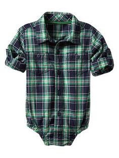 Navy & green plaid bodysuit | Gap..  pretty sure if I ever have a boy he will wear button up shirts all the time like his daddy!