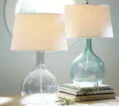 Light blue green glass lamps