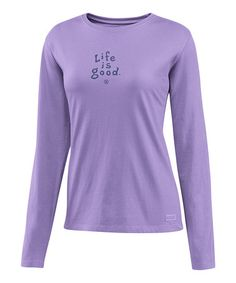 Take a look at this Soft Purple 'Life Is Good' Crusher Long-Sleeve Tee - Women by Life is good® on #zulily today!