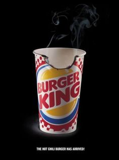 The Print Ad titled HOT was done by .start advertising agency for product: Hot Chili Burger (brand: Burger King) in Germany. Fast Food Advertising, Burger, Print Ads, Hot, Chili, Snack Recipes, Tableware, Creative, Marketing