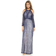 Parker Parker Black Casa Gown ($820) ❤ liked on Polyvore featuring dresses, gowns, blue, long chiffon dress, long gowns, beaded gown, vintage evening gowns and vintage gowns