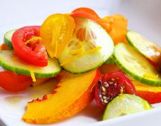 tomato cucumber salad with orange vinaigrette and nectarines