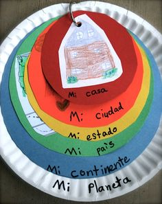 These paper plates are a visual representation for the differences between home, city, state, country, continent, and planet. You can do this in English or Spanish!