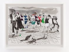 Charles Avery Untitled (Dancers outside the MoA, Onomatopoeia) 2012 Pencil, ink, acrylic and gouache on paper x 114 cm (unframed) 129 x 99 cm (framed. Claudia Martinez, Susan Rothenberg, Grimm, Gouache, Art Pieces, Ink, Gallery, Drawings, Illustration