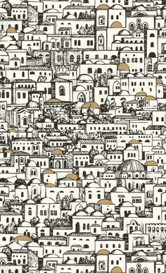 "Fornasetti's ""Jerusalem"" wallpaper, one of my favorite things on Earth"