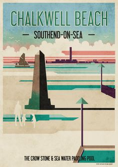 Chalkwell Beach Poster on Behance Posters Uk, Beach Posters, Railway Posters, Leigh On Sea, Tourism Poster, Seaside Beach, Surfer Style, Travel And Tourism, Vintage Travel Posters