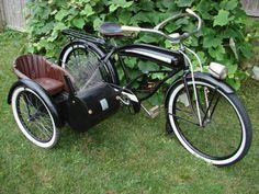 PRE WAR ELGIN BIKE BLACK LIMO TAXI BICYCLE SIDE CAR