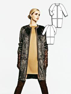 Collarless Faux Fur Coat 12/2011 #burdastyle #sewingpattern #diy #fauxfur