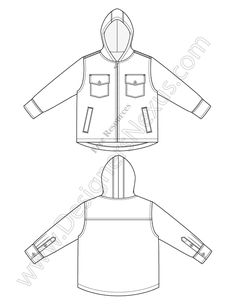 V33 Hooded Jacket Childrens Fashion Flat Sketch - FREE vector flat sketch template in Adobe Illustrator or high-quality PNG with transparent background only at www.designersnexus.com! #fashiondesign #flatsketch #fashionsketch #cargopants #childrenswear #vectors