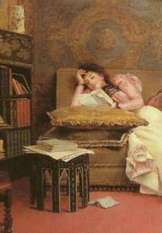 """Georges Croegaert (Belgian, 1848-1923) - """"The reader"""" (detail), c. 1890"""