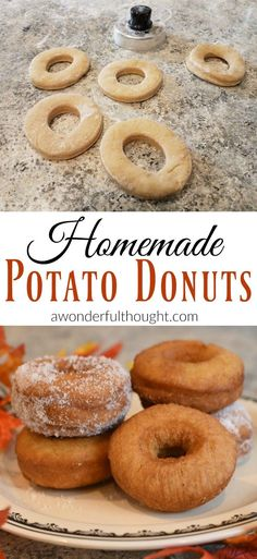 This is a fun and easy recipe for homemade potato donuts. The nutmeg adds the perfect taste for fall or anytime of the year! Donut Recipes, Cooking Recipes, Jerky Recipes, Bread Recipes, Potato Recipes, Fun Easy Recipes, Easy Meals, Potato Donuts Recipe, Breakfast Recipes