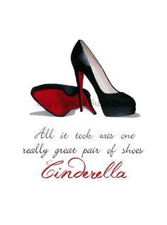 CHRISTIAN LOUBOUTIN Black Shoes Art Print Cinderella by SubjectArt, $12.99
