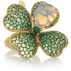 Lydia Courteille Four Leaf Clover 18-karat gold, opal and tsavorite... (151.065 VEF) ❤ liked on Polyvore featuring jewelry, rings, accessories, green, jewels, green ring, green garnet jewelry, clover jewelry, opal jewelry and demantoid garnet ring