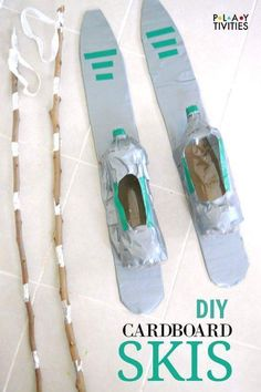 You Can Ski Indoors With Cardboard Skis - awesome idea to recycle cardboard box for indor fun in winter! fun winter You Can Ski Indoors With Cardboard Skis - PLAYTIVITIES Winter Olympic Games, Winter Games, Winter Olympics, Winter Activities, Winter Fun, Winter Theme, Activities For Kids, Preschool Winter, Winter Season