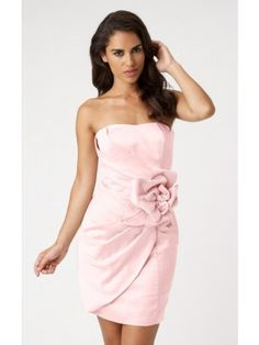 Pretty Pink Sheath Short Strapless Dress