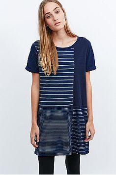 BDG Stephanie Stripe Tee Dress in Blue